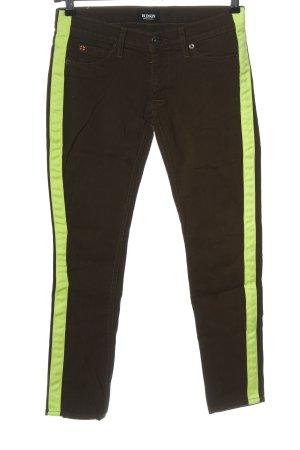 Hudson Pantalone a vita bassa marrone-verde stile casual