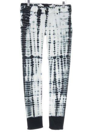 Hudson Skinny Jeans schwarz-weiß abstraktes Muster Casual-Look