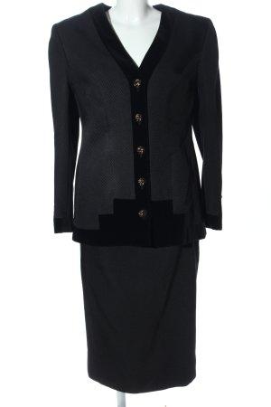 Hübner Haute Couture Kostüm schwarz Streifenmuster Business-Look