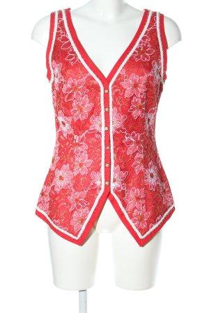 Hübner Haute Couture Spitzentop rot-weiß Allover-Druck Elegant