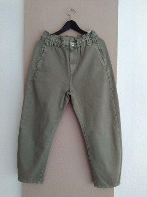 Zara Baggy Pants green grey-khaki cotton