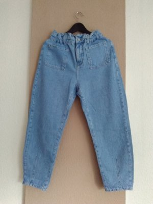 Zara Workowate jeansy niebieski neonowy-błękitny Bawełna
