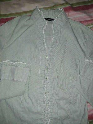 Hübsche Bluse 34 36 Rüschen grün fein gestreift Strech