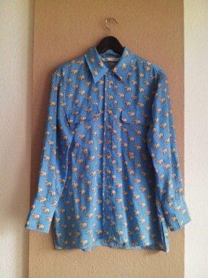 hübsche Bluse in hellblau mit Elefanten, Grösse L