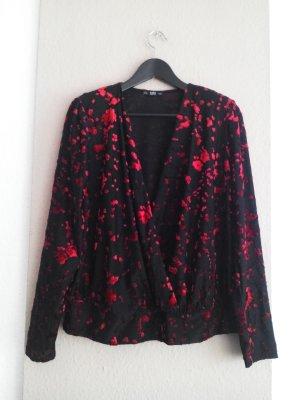 hübsche Bluse mit Blumen Applikationen, Samtoptik, Größe M, neu
