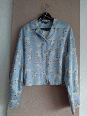 hübsche Bluse mit Hunde-Muster, Größe M oversize, neu