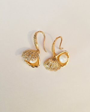 Vintage Pendant d'oreille doré-blanc
