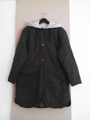 hübsche gesteppte Longjacke mit abnehmbarer Kapuze in khaki, Grösse S-M, neu