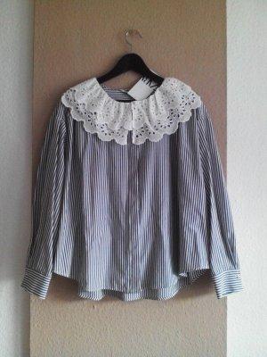 hübsche gestreifte Bluse mit Kragen, Grösse M, neu