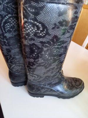 Gumowe buty czarny-w kolorze białej wełny Tkanina z mieszanych włókien