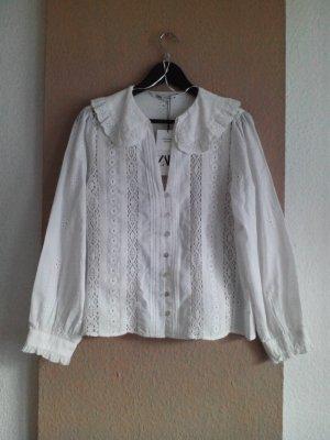 hübsche Hemdbluse mit Bubikragen aus 100% Baumwolle, Grösse M, neu