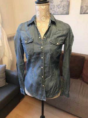 H&M Denim Shirt white-blue