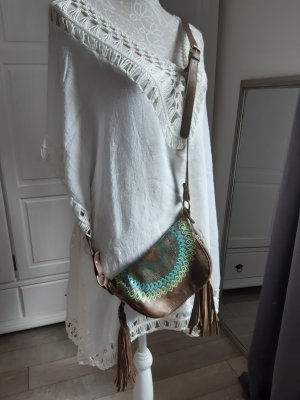 hübsche kleine Desigual Tasche, braun-türkis, Hippie-Style mit Fransen
