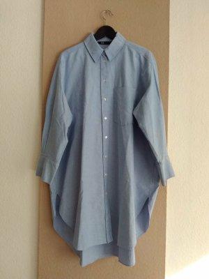 hübsche Long-Hemdbluse in hellblau aus 100% Baumwolle, Größe L oversize