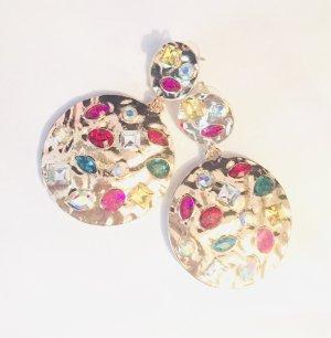 Unikat Boucle d'oreille incrustée de pierres multicolore