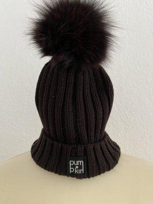Pum kin Knitted Hat dark brown wool