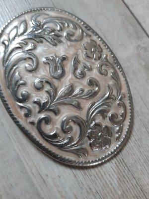 hübsche ovale Gürtelschnalle, filigranes Muster, silber/rose