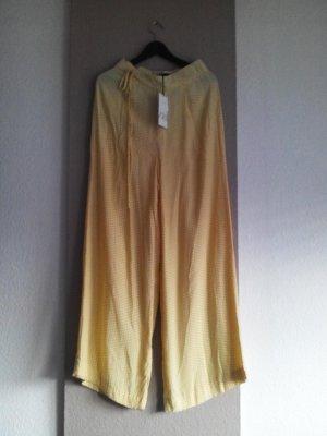 Zara Pantalon palazzo jaune primevère-blanc viscose