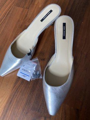 Zara Basic Sandalo con tacco argento Pelle