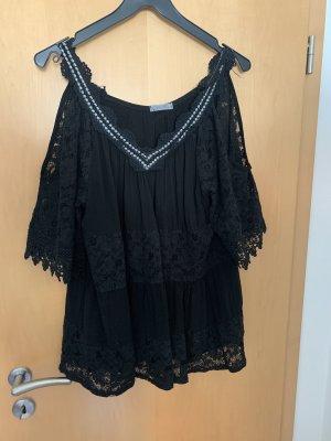 Made in Italy Kanten blouse zwart-zilver