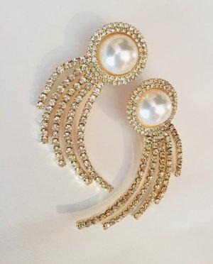 Vintage Zdobione kolczyki złoto-biały