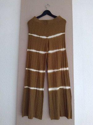 Mango Spodnie materiałowe piaskowy brąz-w kolorze białej wełny Wiskoza