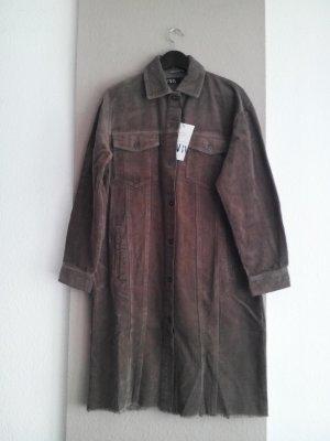 hübsche Überhemd-Long-Jacke aus 100% Baumwolle in khaki, Kordoptik, Grösse M, neu