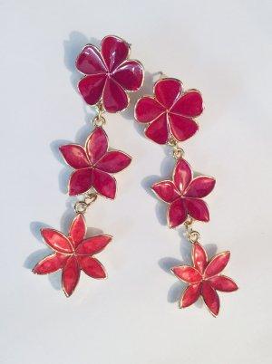 Hübsche Vintage Ohrringe Blumen Bunt Emaille