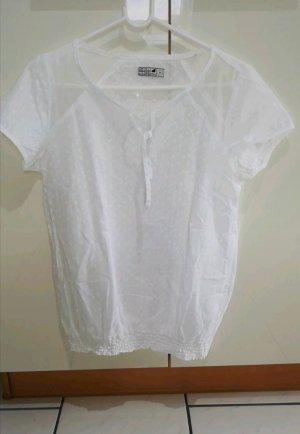 Hübsche weiße kurzarm Bluse / Tshirt Größe S/M