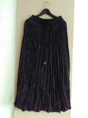hübscher geknitterter Midirock in schwarz-anthrazit aus 100% Viskose, Größe S, neu
