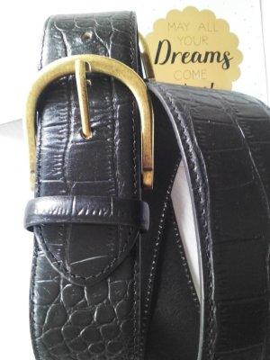 hübscher Gürtel aus echtem Leder mit Kroko-Print und Doppelschnalle, Größe 90-L, neu