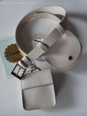hübscher Gürtel aus echtem Leder mit Taschen in beige, Größe S, neu