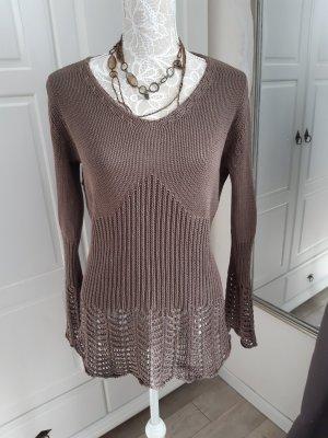 Stottrop Pull en crochet taupe-brun foncé