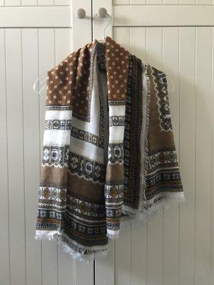 H&M Pashmina blanc-brun sable