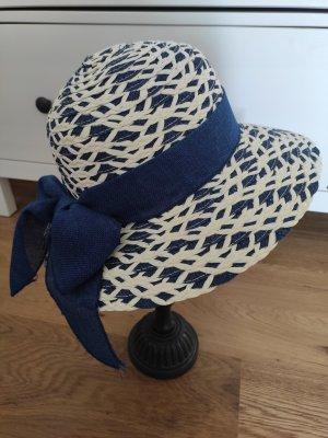 Cappello di paglia crema-blu