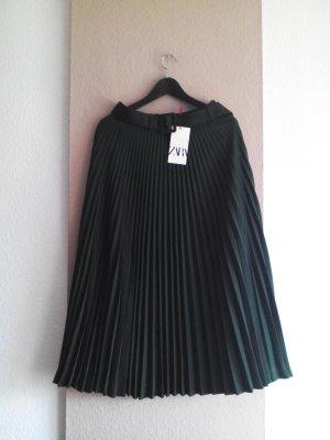 Zara Jupe à plis vert forêt polyester