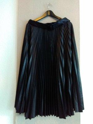 hübscher Plissee-Midirock in schwarz mit Gürtel, Lederoptik Größe L, neu