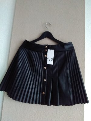 Zara Rok van imitatieleder zwart-zilver Polyester