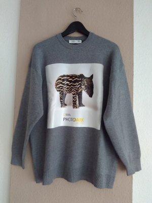Zara Jersey de punto gris Viscosa