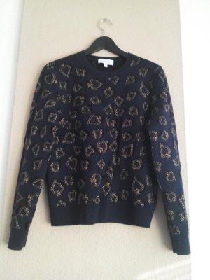 Zara Maglione lavorato a maglia oro-blu scuro Poliammide