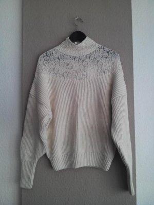 hübscher Pullover mit Spitzenbesatz, Grösse L, neu