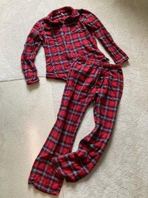 Hübscher Rot/Schwarz karierter Schlafanzug/Pyjama von Esprit gr. 38