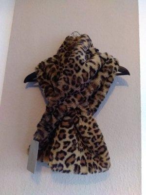 hübscher Schal in animalprint aus küntlichem Fell, neu
