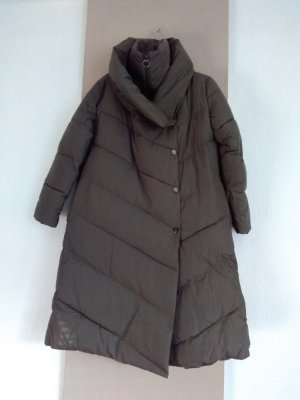 Mango Quilted Coat green grey polyester