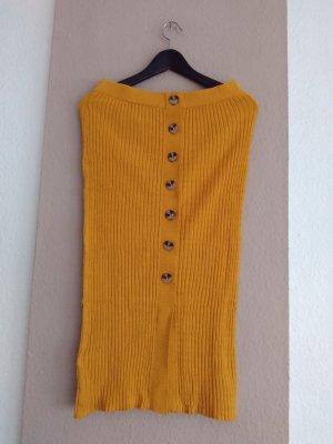 Mango Spódnica z dzianiny ciemny żółty Bawełna