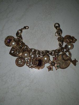 hübsches Bettelarmband Perlen Buddha Steine goldfarben