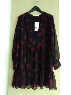 Zara Mini Dress black-carmine polyester