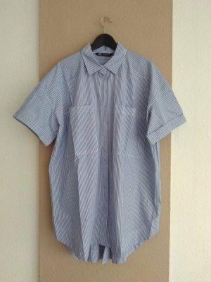 hübsches gestreiftes Hemdblusenkleid aus Baumwolle, Grösse L oversize