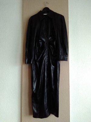 hübsches Hemdblusenkleid in schwarz, Kunstlederoptik, Grösse L, neu