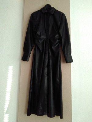 hübsches Hemdblusenkleid in schwarz, Kunstlederoptik, Grösse M, neu
